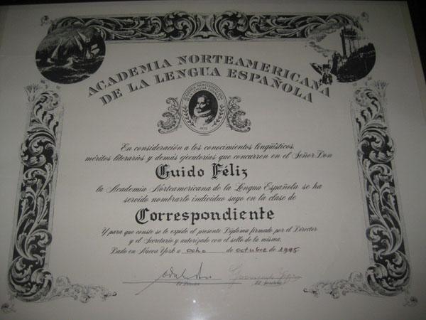 Distinguido diploma para el distinguido Dr. G.