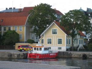 Un guardacostas en el puerto de Karlskrona